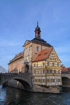 Bamberg, Old Town Hall, Regnitz, Bridge, River