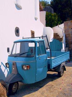 Blue, Car, Vintage, Vehicle, Automotive, Auto