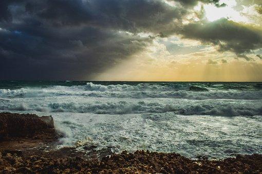 Rocky Coast, Storm, Sea, Waves, Nature, Sky, Clouds