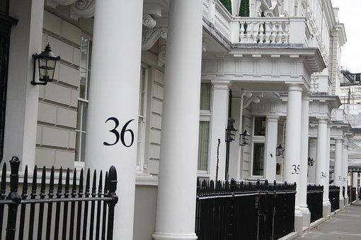 London, Numbers, Columns, White, Black, England, Street