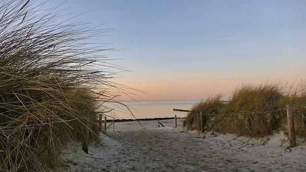 Baltic Sea, Sea, Landscape, Winter, Dusk, Light, Sunset