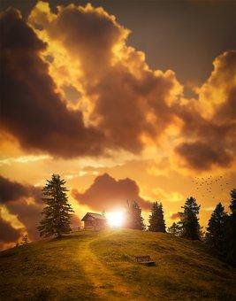Landscape, Sunset, Sky, Lighting, Weather Mood, Alm