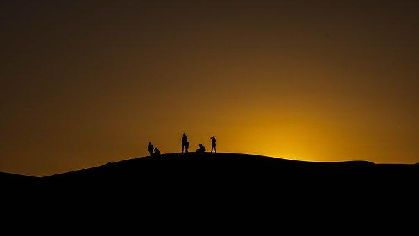 Silhouette, Morocco, Desert, Nature, Sunset, Dune