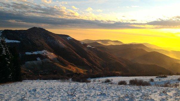 Mountain, Landscape, Sun, Snow, Snowy, Nature, Cold