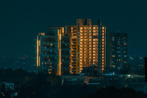 Pune, Night, Lights, City, Modern, Architecture