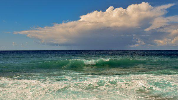 Sea, Wave, Horizon, Ocean, Blue, Surf, Seascape, Sky
