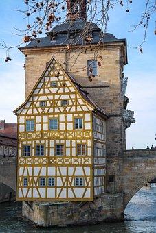 Bamberg, Old Town Hall, Bridge, Fachwerkhaus