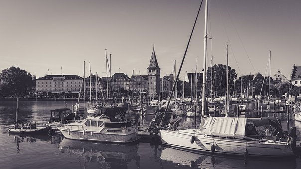 Port Of Lindau, Lake Constance, Black White
