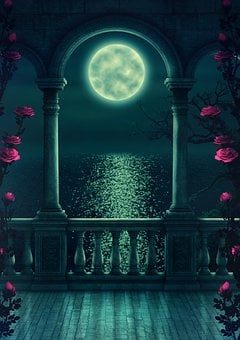 Fantasy, Balcony, Moon, Romantic, Tree, Moonlight