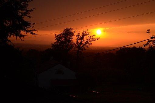 Sunset, Black, Orange, Nature, Sun, Sky, Light, Clouds