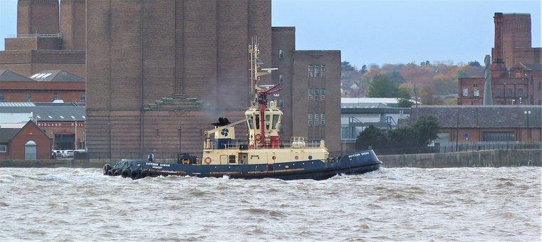 Liverpool, Tug, Boat, Mersey, Shipping, Transportation