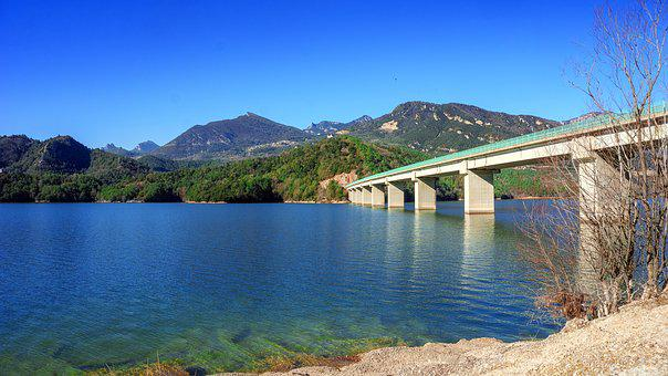 Bridge, Water, Lake, Architecture, Panorama, Landscape