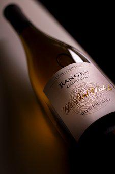 Wine Bottle, Herb, White Wine, Alsace, France, Riesling
