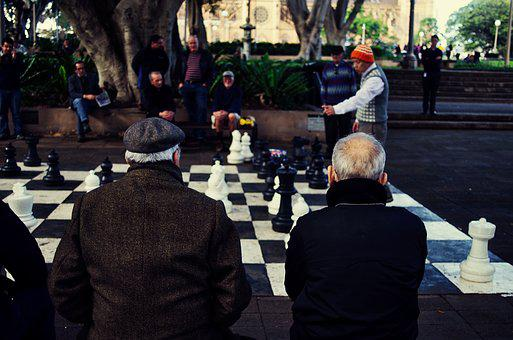 Game, Chess, Watch, Park, Challenge, Play, White, Black