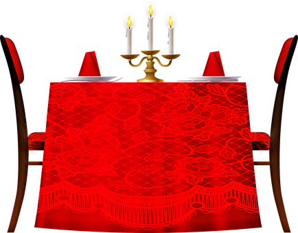 Dining Room Table, Red Tablecloth, Candles, Romantic