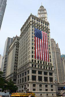 Chicago, American Flag, Skyscraper, Architecture