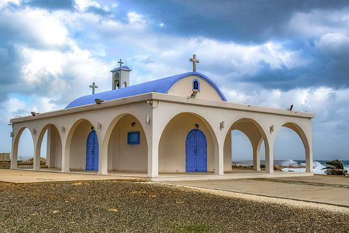 Cyprus, Ayia Thekla, Church, Architecture, White, Blue
