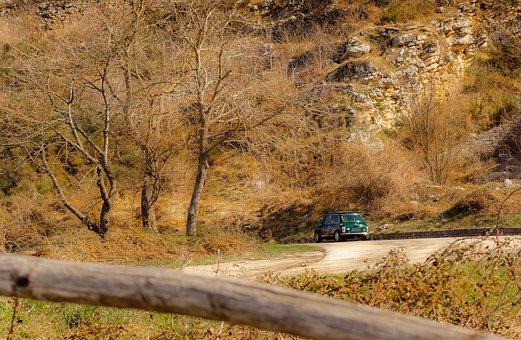 Landscape, Mini Cooper, Curve, Forest, Old, Rusty, Auto