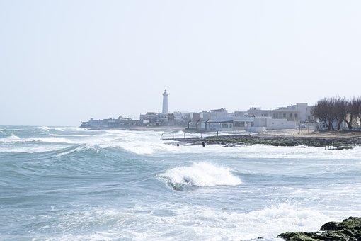 Sea, Lighthouse, Waves, Rocks, Storm, Wind, Nature