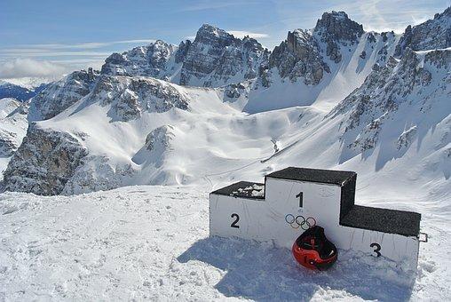 Mountains, Ski, Skiers, Snowboard, Ski Helmet, Success