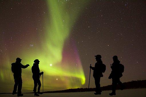 Aurora Borealis, Night, Hiking, Space, Sky, Nature