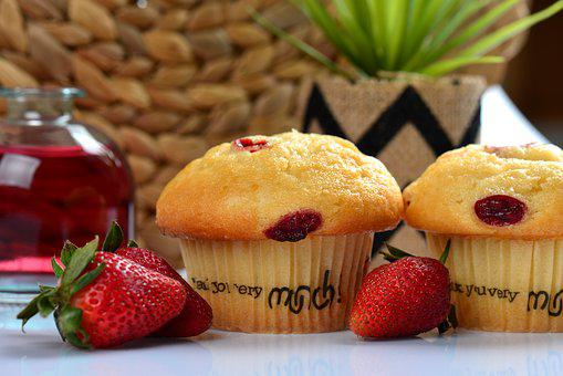 Muffin, Strawberry, Fruit, Design, Creative, Food