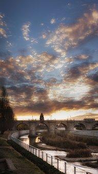 Sky, Dawn, Madrid Rio, Vertical, Bridge, Water, River