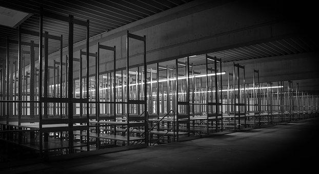 Steel Shelf, Industrial Hall, Stock, Building