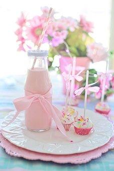 Cake Pop, Milk, Pink, Strawberry Milk, Drink, Food