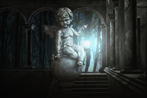 Gothic, Fantasy, Dark, Angel, Candle, Atmosphere