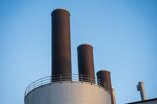 Chimney, Industry, Factory, Power Plant, Environment