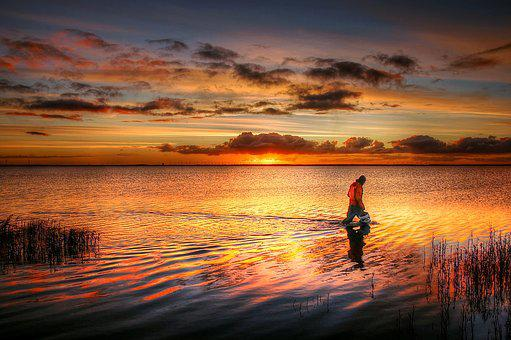 Fisherman, Sunrise, Water, Fishing, Sea, Sky, Nature