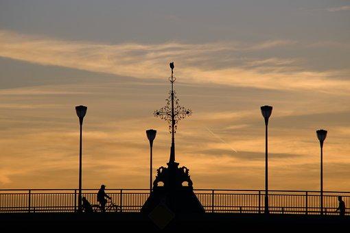 Frankfurt, Bridge, Abendstimmung, Sunset, Human