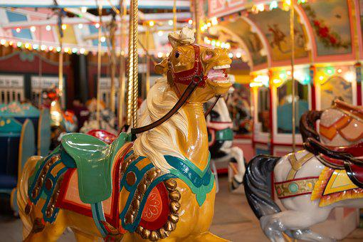 Carousel, Horse, Amusement, Ride, Colorful, Fun