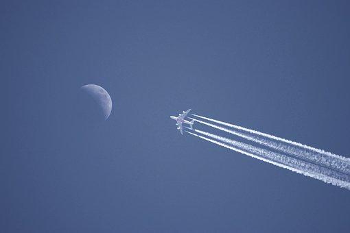 Plane, Flight, Travel, Transport, Flat, Jet Plane, Luna