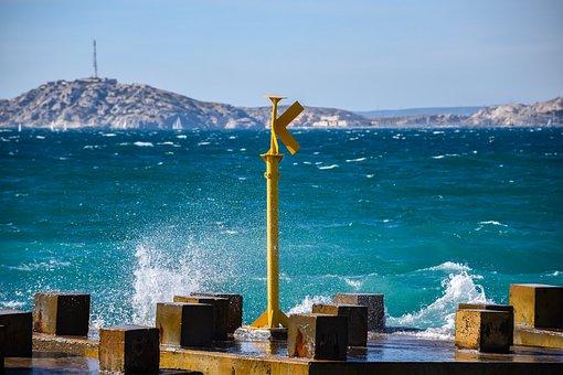 Pier, Sea, Water, Waves, Splashing, Dock, White, Caps