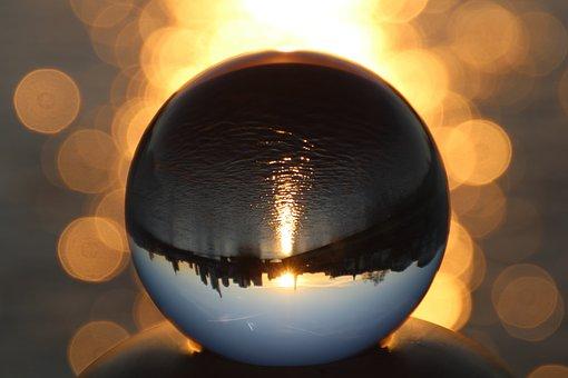Frankfurt, Skyline, Sunset, Ball, Glass Ball, Main