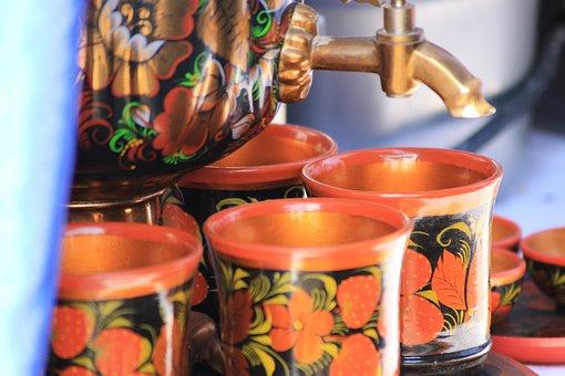 Samovar, Cups, Khokhloma, Traditions, Russia, Tea
