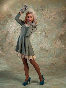 Dress, Cap, Veil, Model, Legs, Curls, Retro, Woman