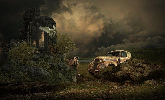 Fantasy, Landscape, Mystical, Woman, Night, Sky