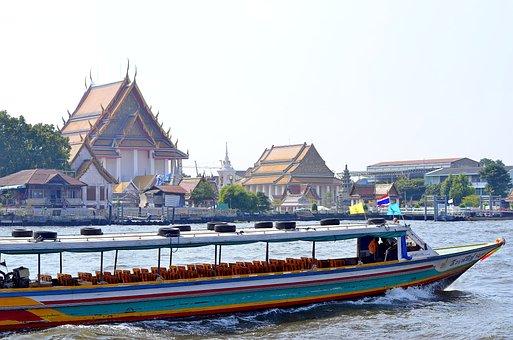 Bangkok, Thailand, Boat, River, City, Asia, Backpack