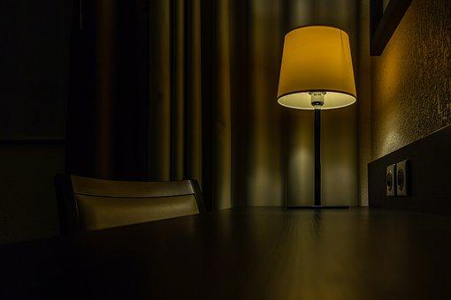 Office, Lamp, Light, Table, Chair, Dark, Bulb, Glow