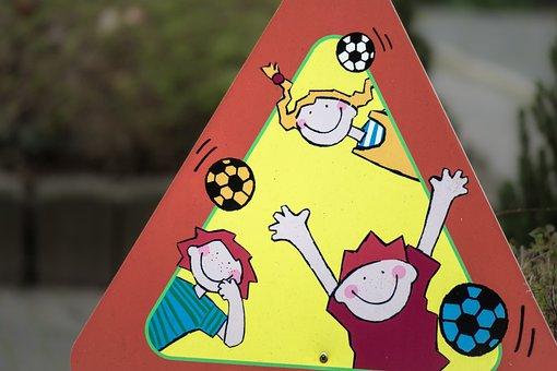 Street, Shield, Street Sign, Children, Cheerful, Joy
