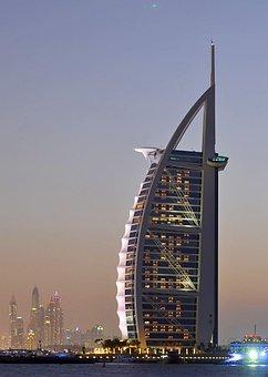Dubai, Hotel, Emirates, Water, Night, Skyline