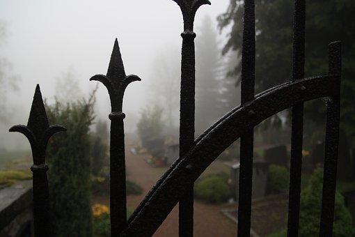 Cemetery, Fog, Iron Gate, Goal, Spooky, Creepy, Fear