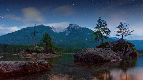 Lake, Twilight, Alpine, Star, Bergsee, Hintersee
