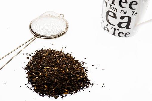 Tea, Broken, Cup, Sieve, Black, Leaves, Loose, Dried