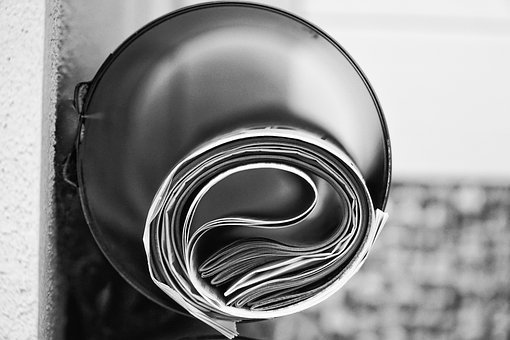 Newspapers, Newspaper Tube, Delivery, Black And White