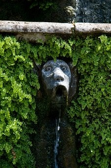 Fountain, Person, Head, Water, Flowing, Sculpture