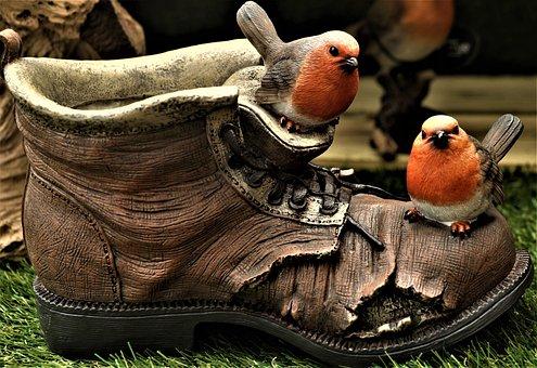 Robin, Shoe, Boot, Plastic, Ornament, Garden Ornament